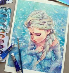 "WANT A SHOUTOUT ? CLICK LINK IN MY PROFILE !!! Tag #DRKYSELA Repost from @leowdrawingclass Frozen ""Elsa"" Scmincke Winsor&Newton watercolor on Saunders 300gsm Rough paper.Thank you for following me!! Big thanks to ___ @spotlightonartists ___ @arts_universe_ ___ @altart_mag ___ @featuring_art ___ @greatwithpaint ___ @galeriadeart ___ @theartistwifts ___ for sharing my artworks!! Giorgio Moroder - Deja-vu Paul Oakenfold - Great Wall. #arts_help #arts_gallery #artfido #proar"