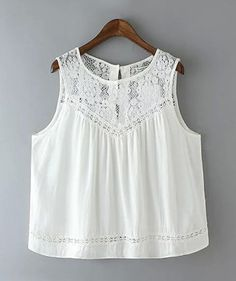 Summer 2016 Fashion Women Cotton Lace Hollow out Vintage Sleeveless white Casual Tank Tops Diy Vetement, Look Boho, Bohemian Mode, Boho Fashion, Womens Fashion, White Casual, Lace Tops, White Lace, White Tunic