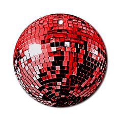 Red Disco Ball Ornament Round Music Round Ornament by CafePress. Gleaming and glorious, this shiny red disco mirror ball ornament is sure to dress up anything Vivid colors, unique design and bright red ribbon make this ceramic disco ornament special. Music Round Ornament Instantly accessorize bare wall-space with our Round Ornament. Makes great room or office accessories, fun favors for birthday parties, wedding or baby shower Ornaments, or adding a unique, special touch to gift-wrapped…