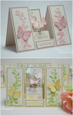 handmade Easter cards from Aspiring to Creativity: Double Sided Step Card Tutorial. Instructions on how to make this cool fold! Fun Fold Cards, Pop Up Cards, Folded Cards, 3d Cards, Envelopes, Center Step Cards, Side Step Card, Stepper Cards, Card Making Tutorials