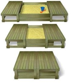 sliding lid sandpit... daddy project! This is awesome our grandpa built us a sand box but ended having to put plywood over it at night to keep cats from using it as a litter box, so this is great!