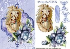 PALAMINO WHITE HORSE WITH BLUE ROSES on Craftsuprint designed by Nick Bowley - PALAMINO WHITE HORSE, WITH BLUE ROSES, Makes a pretty card, lots of other horses to see - Now available for download!