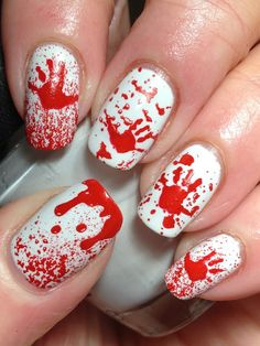 With Halloween right around the corner, I thought it might be time to share a Halloween mani or two....and nothing says Halloween like a little blood and gore, right? Started with an assortment of bl