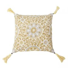 Add texture and style to your home with our Mandala cushion. With a vibrant pattern, rich colour and luxurious tassel detail, this cushion will make a stunning addition to your home. Royal Marines, Woolen Mills, Mustard, Mandala, Cushions, Throw Pillows, Toss Pillows, Toss Pillows, Pillows