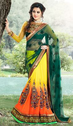 Gravity Fashion- Select party wear sarees from wide range of latest party wear sarees design. Buy party wear sarees online from our unique and latest collection Indian Dresses, Indian Outfits, Indian Clothes, Party Wear Sarees Online, Designer Sarees Online Shopping, Lehenga Style, Yellow Saree, Indian Sarees Online, Fashion Designer