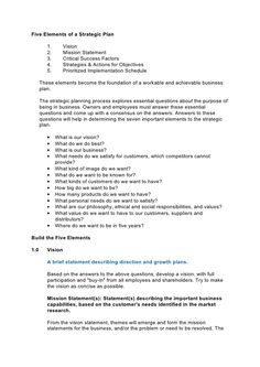 Free Strategic Plan Examples  One Page Strategic Plan Template