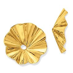 14k Yellow Gold Oriental Fan Earring Jackets