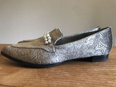 39c14bf1247 Marc Fisher Ladies 8 M Gray Dress Flats Kneel Pearl Embellished Loafers.  New-beautiful unworn Marc Fisher loafers. Double Rows of Pearl Embellished  Loafers.