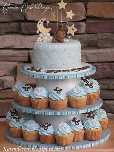 Baptism Boy Cupcake Tower - Color Name Baby - Ideas of Color Name Baby - baptism cake & cupcakes Baptism Cupcakes, Baby Shower Cupcakes For Boy, Gateau Baby Shower, Cupcakes For Boys, Baby Boy Cakes, Girl Cakes, Baby Boy Shower, Baby Boy Baptism, Cake For Baptism Boy