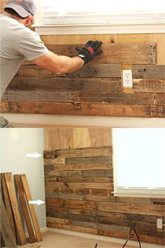 DIY Pallet Wall: 25 Best Accent Wood Wall Tutorials 25 best DIY pallet wall tutorials & designer tips on how to create beautiful accent wood wall paneling easily, plus peel and stick boards & wallpaper ideas! – Apiece of Rainbow Pallet Wall Decor, Pallet Walls, Barn Wood Decor, Pallet Tv, Rustic Wood Walls, Wall Wood, Mens Room Decor, Table Cafe, Wood Panel Walls
