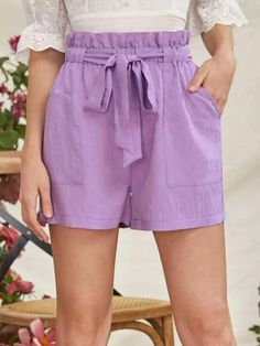 ((Affiliate Link)) Description Style:	Boho Color:	Lilac Purple Pattern Type:	Plain Details:	Belted, Pocket, Paper Bag Waist Type:	Wide Leg Season:	Summer Composition:	85% Rayon, 15% Nylon Material:	Rayon Fabric:	Non-stretch Sheer:	No Fit Type:	Loose Waist Type:	High Waist Closure Type:	Elastic Waist Belt:	Yes