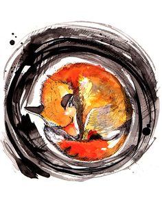 Animal Painting Fox Sleeping 8x10 Watercolor by SayHeyCrystal, $20.00