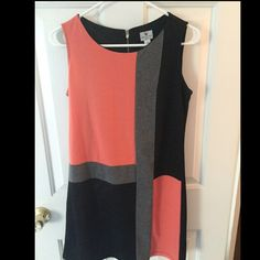 Worthington Color Block Work Dress This is a size small Worthington Gray, Coral and Black color block dress.  I have only worn it once. Worthington Dresses