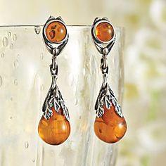Art Deco Amber Teardrop Earrings | National Geographic Store