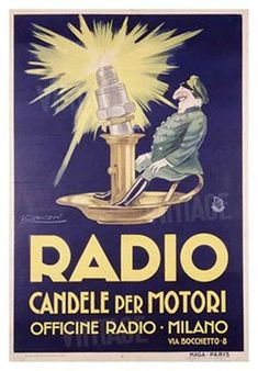 Giclee Print: Radio by Achille Luciano Mauzan : Vintage Italian Posters, Pub Vintage, Vintage Labels, Vintage Travel Posters, Retro Advertising, Vintage Advertisements, Retro Ads, Lps, Radios