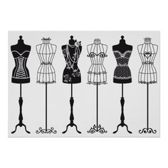 Vintage fashion mannequins, design for bridal shower, fashion show invitation, cards Mannequin Drawing, Dress Form Mannequin, Vintage Mannequin, Vintage Mode, Vintage Shops, Fashion Job, Silhouettes, Fashion Show Invitation, Fashion Mannequin