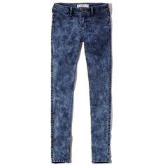 Hollister Jean Leggings (£11) ❤ liked on Polyvore featuring pants, leggings, medium wash effect, jeggings pants, blue trousers, blue jean leggings, jean leggings and denim leggings
