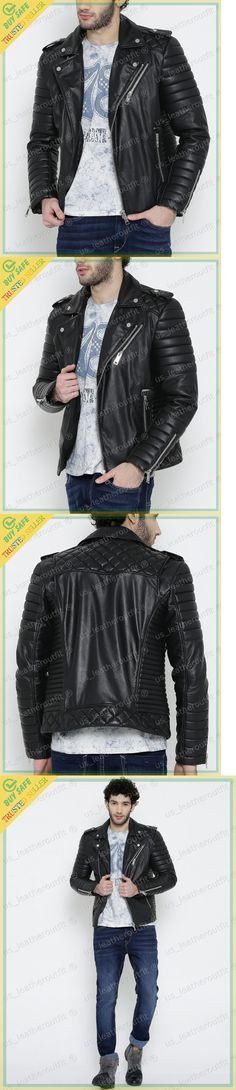 Coats and Jackets 57988: New Men S Genuine Lambskin Leather Jacket Black Slim Fit Biker Motorcycle Jacket -> BUY IT NOW ONLY: $113.59 on eBay!