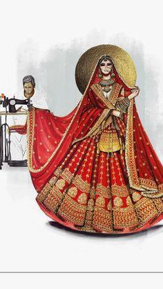 Dress Design Drawing, Dress Design Sketches, Fashion Design Sketches, Dress Illustration, Fashion Illustration Dresses, Fashion Drawing Tutorial, Art Drawings Sketches, Fashion Art, Indian Drawing