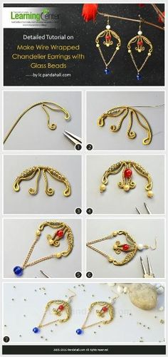 Detailed Tutorial on How to Make Wire Wrapped Chandelier Earrings with Glass Beads from LC.Pandahall.com   Jewelry Making Tutorials & Tips 2   Pinterest by Jersica