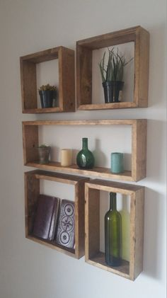 Square and Rectangular Shelf Set Square and Rectangular Shelf Set - Set of 5 shelves - In this arrangement, the entire configuration measures 25 Living Room Shelves, Living Room Decor, Shelves On Wall, Cube Shelves, Simple Living Room, Home And Deco, Creative Home, Home Decor Accessories, Diy Furniture