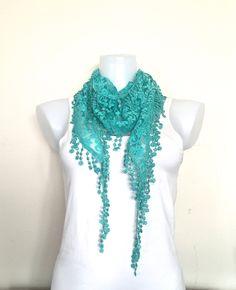 2 SCARVES Aqua Green Lace Scarf Women Boho by LunaShawls on Etsy