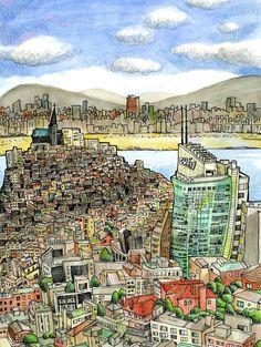 Artist: Tommy Kane – Media: Watercolor and Ink Travel Illustration, Urban Sketchers, Travel Light, Urban Landscape, Watercolor And Ink, Urban Art, Art Blog, Poster Prints, Sketchbooks