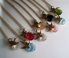 Sparrow Swarovski Briolette Necklace in Gold or Silver