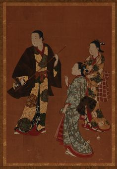 A man, possibly an actor, and two girls  TYPE Hanging scroll (mounted on panel) MAKER(S) Artist: Kawamata Tsuneyuki 川又常行 (1676?-1741?