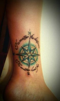 "Another Coheed and Cambria tattoo  Blue and yellow compass with the lyrics "" no matter the distance no matter how far "" Live the idea and the message..."