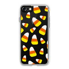 Halloween candy corn orange yellow white watercolor pattern by Girly... ($40) ❤ liked on Polyvore featuring accessories, tech accessories, iphone case, apple iphone cases, iphone cases, iphone cover case and white iphone case