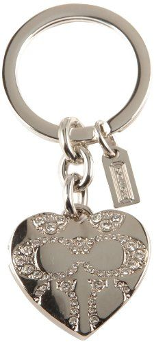 1d8dd26a66 Coach Pave Signature C Heart Locket Swarovski Crystal Silver Key Ring,  Chain, Fob Purse