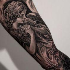 Amazing artist Jun Cha Angel tattoo! #juncha #finelineblackandgrey #blackandgrey…