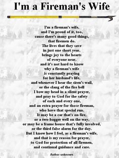 Proud to say I'm a Fireman's Wife