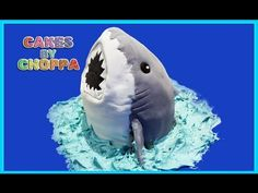 Shark Cake (how to) - YouTube-shows how to cut shape using large rectangular pan