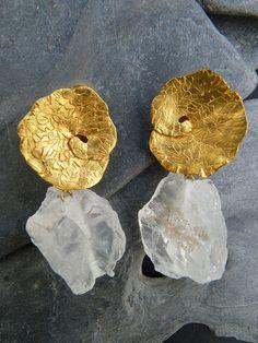 Vintage Alloy Leaf Women Earrings Irregular Gravel Natural Crystal Pendant Earrings online - NewChic Mobile Contemporary Jewellery, Modern Jewelry, Jewelry Art, Silver Jewelry, Jewelry Accessories, Fashion Jewelry, Jewellery Box, Jewellery Quarter, Jewellery Shops