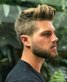 His hair, eyebrows, moustache and beard. Quiff Hairstyles, Pompadour Hairstyle, Beard Styles For Men, Hair And Beard Styles, Facial Hair Styles, Mens Facial, Beard Haircut, Moustaches, Blonde Guys