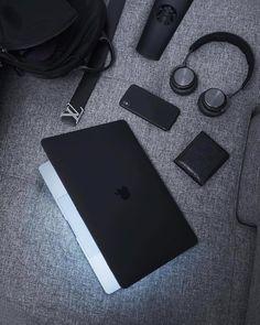 High angle view of laptop on table Black N White, Black Love, Back To Black, Black Is Beautiful, Matte Black, Black Apple, Color Black, Macbook, Aesthetic Colors