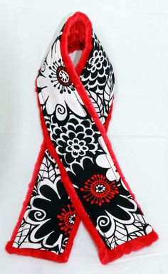 Camera Strap Cover - Fun Sassy Red Black and White with Minky