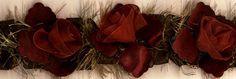 Organza & Chenille flower trim in burgundy