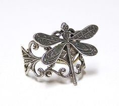 Steampunk silver DRAGONFLY RING victorian by chinookhugs on Etsy, $35.99