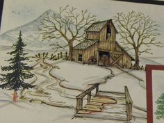 BARN & TREES nothing else L@@K@photo examples ART IMPRESSIONS RUBBER STAMPS | eBay!