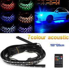 4 In 1 12V RGB LED Car Interior Decoration Lamp Auto Automobile Chassis Light Bar Neon Strip + Remote Control