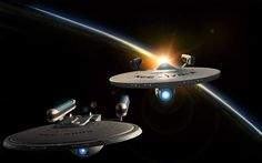 Excelsior Class and Constitution Class Refit in orbit. Star Trek Vi, Star Trek Ships, Star Fi, Excelsior Class, Star Trek Generations, Uss Enterprise Ncc 1701, Starfleet Ships, Star Trek Starships, Star Trek Movies