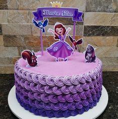 Princess Sophia Cake, Princess Sofia Birthday, Princess Cake Toppers, Bolo Sofia, Sofia Cake, Sofia The First Birthday Cake, Cute Birthday Cakes, Bolo Laura, Cake Decorating Piping