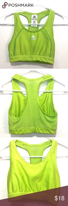 4756878061143 Adidas Women s Green Sport-Bra Size Small Features -Sweat-Wicking -Comfort-