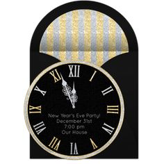 Countdown to midnight with this cute New Year's clock invitation. Personalize and send online to friends and family for free for your New Year's Eve party. New Years Eve Invitations, Online Invitations, Party Invitations, New Years Wedding, New Years Eve Party, New Year Clock, Yw In Excellence, 90th Birthday Parties, Punch Bowls
