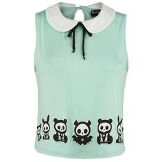- Front and back print - Peter Pan collar with decorative bow - Keyhole detail at the back - Small heart button at the neck - Loose fit - Cropped cut The print on both sides will guarantee that no one will overlook your favourites, be it Jack, Jae, Kit or anyone else. With this top, you'll not only be taking the Skelanimals family out, you'll be showing your playful side as well. The decorative bow on your Peter Pan collar and the keyhole detail at the back bring in a bit of excitement.