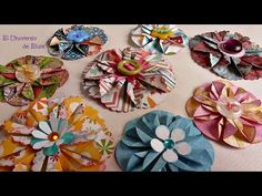 Flores de Papel Scrapbooking,  Flores para tu Organizador Magnético, Porta Make Magnético - YouTube