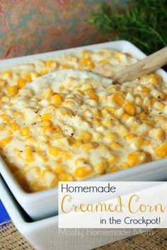 Homemade Creamed Corn in the Crockpot - A decadent, homemade version of creamed corn for the Crockpot - you'll never go back to canned again! A decadent, homemade creamed corn recipe for the Crockpot - you'll never go back to canned again! Slow Cooker Recipes, Crockpot Recipes, Cooking Recipes, Cooking Tips, Chicken Recipes, Vegetable Side Dishes, Vegetable Recipes, Spinach Recipes, Veggie Food